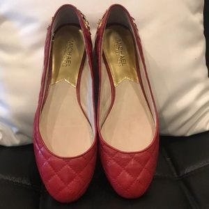 Michael Kors RED ballerina shoes with gold chain 9